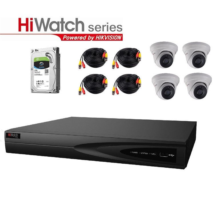 Buy the Hiwatch TVI Analog THK-2MF8T4-2T/D Security Kit All-In-One 8