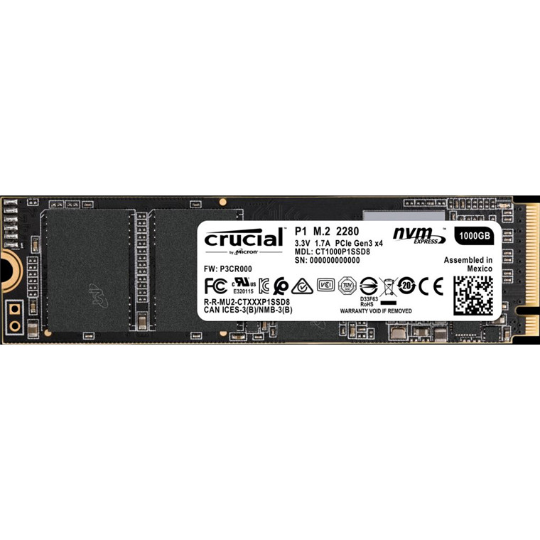 Buy the Crucial P1 1TB NVMe PCIe M 2 2280 Gen 3 X 4 SSD, Up to 2,000 MB/s  Read    ( CT1000P1SSD8 ) online