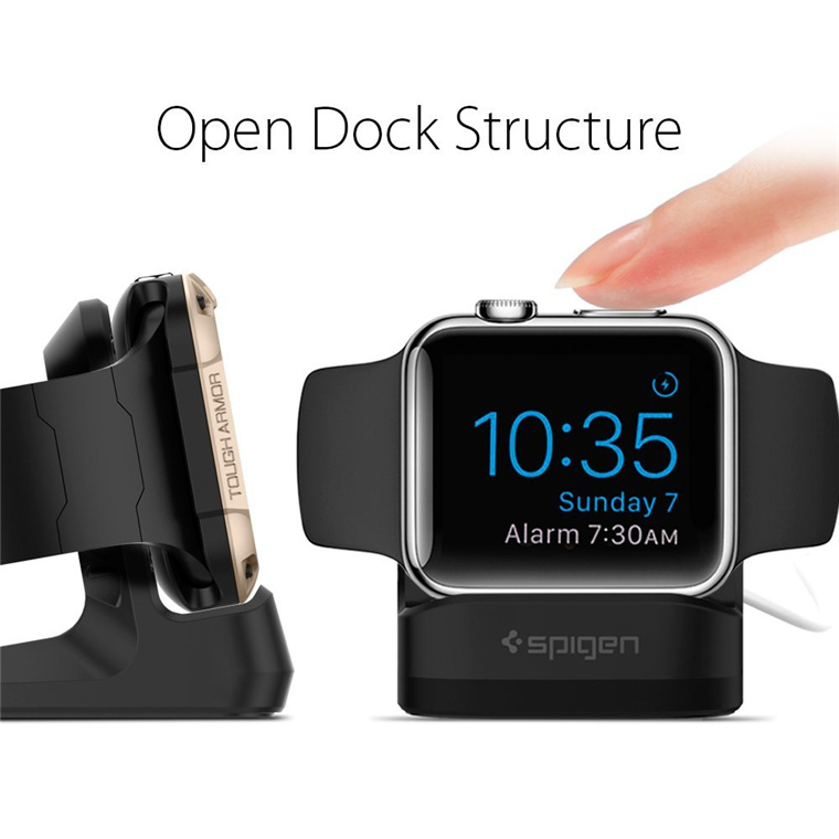Spigen Apple Watch Night Stand Black, Non-Slip Base, Secure hold,Compact, Compatible with Apple.